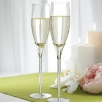 Rhinestone Toasting Flutes (Tube Stem with Crystals)