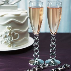 Stacked Hearts Wedding Toasting Glasses image