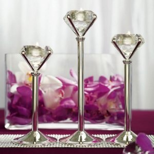 Diamond Shaped Silver Tealight Holders (Set of 3) image