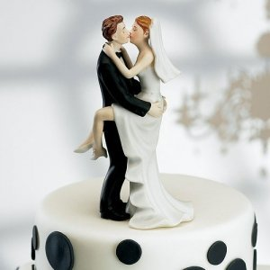 Kissing Couple Bride & Groom Cake Topper image