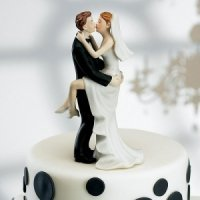 Kissing Couple Bride & Groom Cake Topper