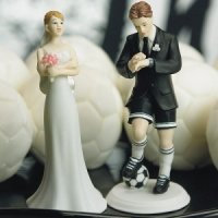 Soccer Playing Groom Mix and Match Cake Topper