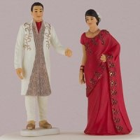Indian Bride & Groom In Traditional Dress Cake Topper