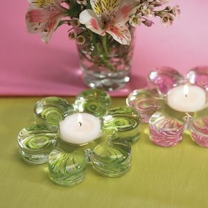 Glass Flower Wedding Favor Tealight Holders (2 Pack) image