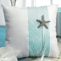 Seashell and Sand Beach Themed Ring Bearer Pillow