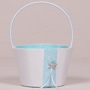 Seashell and Sand Beach Themed Flower Girl Basket image