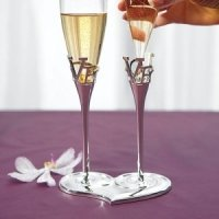 Removable Glass Flutes with LOVE Stems