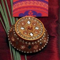 Exotic Golden Beaded Lac Boxes (Set of 4)
