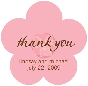 Pink Flower Custom Wedding Thank You Stickers image