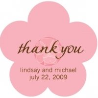 Pink Flower Custom Wedding Thank You Stickers