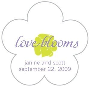 Personalized 'Love Blooms' Flower Shaped Stickers image