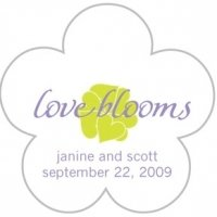 Personalized 'Love Blooms' Flower Shaped Stickers