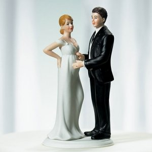 Expecting Bridal Couple Cake Topper image
