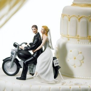 Motorcycle Wedding Cake Topper (3 Skin Tones) image