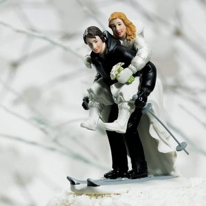 Winter Skiing Wedding Couple Cake Top image