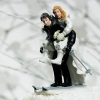 Winter Skiing Wedding Couple Cake Top