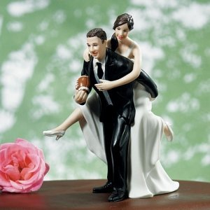 Wedding Couple Playing Football Topper (3 Skin Tones) image