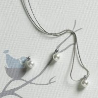White Pearl with Crystal Necklace & Earrings