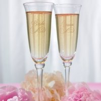 Etched Bridal Party Toasting Flutes