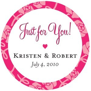 Floral 'Just For You' Personalized Wedding Stickers image