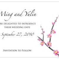 Cherry Blossom Save the Date Cards (Set of 8)