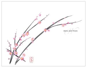 Custom Cherry Blossom Wedding Bulletin Paper image