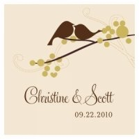 Square Love Birds Wedding Favor Tag (Set of 20)