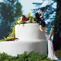 'Hooked on Love' Fishing Groom Wedding Cake Topper
