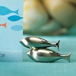 Double Fish Brushed Silver Place Card Holders (Set of 8)