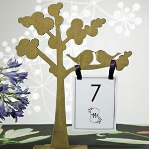 Wooden Die Cut Trees with Love Birds (Set of 2) image