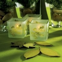 Glass Leaf Cube Tea Light Holders (Set of 8)