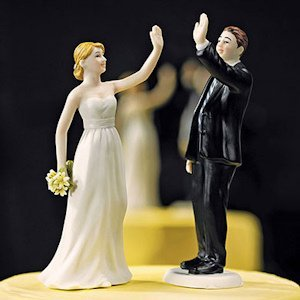 High Five Bride and Groom Cake Toppers (Mix and Match) image