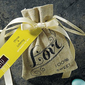 Vintage Love Mini Drawstring Linen Pouch - Set of 12 image