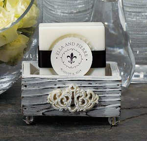 Jewel Footed Wooden Box Favors - Set of 6 image
