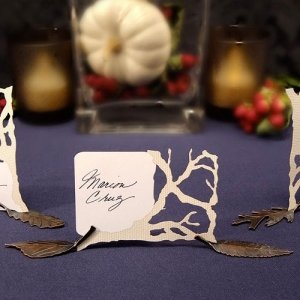 Metal Leaf Place Card Holders - Set of 8 image