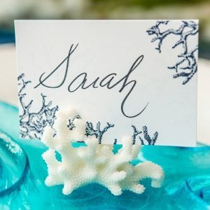 Coral Design Place Card Holders - Set of 8 image