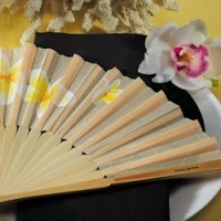 Tropical Plumeria Bamboo Fans (Set of 6)