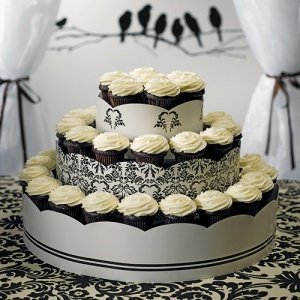 Love Bird Damask Cupcake Tower Display image
