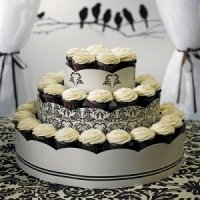 Love Bird Damask Cupcake Tower Display