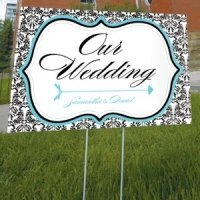 Love Bird Damask Outdoor Wedding Sign