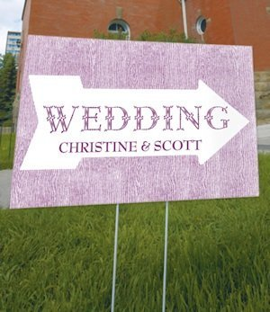 Personalized Pointing Arrow Outdoor Wedding Sign (6 Colors) image