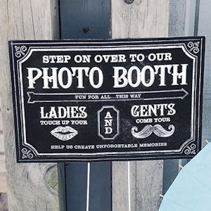 Customized Chalkboard Print Directional Photo Booth Sign image