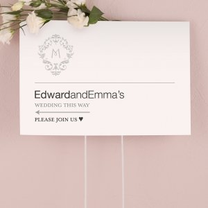 Classic Filigree Monogram Directional Sign image