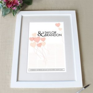 Balloon Hearts Custom Signature Frame Guest Book (6 Colors) image