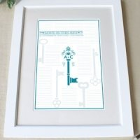 Custom 'Love is the Key' Framed Certificate (9 Colors)