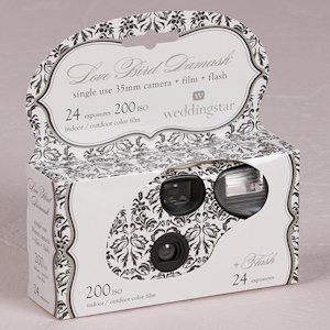 Wedding Disposable Cameras with Love Bird Damask Design image