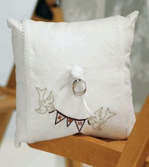 Love Birds Pennant Personalized Wedding Ring Pillow image