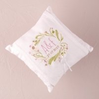 Natural Charm Simply Sweet Personalized Ring Pillow