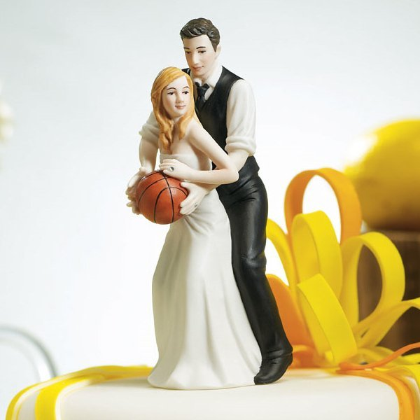 Hoop Dreams Wedding Couple Cake Topper (Light Skin Tone)