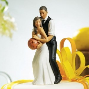 Basketball Dream Team Couple Cake Topper (Dark Skin Tone) image